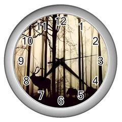 Forest Fog Hirsch Wild Boars Wall Clocks (Silver)