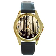 Forest Fog Hirsch Wild Boars Round Gold Metal Watch