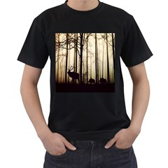 Forest Fog Hirsch Wild Boars Men s T-Shirt (Black) (Two Sided)