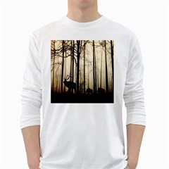 Forest Fog Hirsch Wild Boars White Long Sleeve T-Shirts