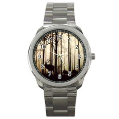 Forest Fog Hirsch Wild Boars Sport Metal Watch