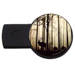 Forest Fog Hirsch Wild Boars USB Flash Drive Round (4 GB)