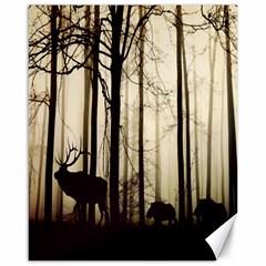 Forest Fog Hirsch Wild Boars Canvas 16  x 20