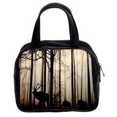 Forest Fog Hirsch Wild Boars Classic Handbags (2 Sides)