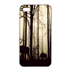 Forest Fog Hirsch Wild Boars Apple Iphone 4/4s Seamless Case (black)