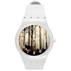 Forest Fog Hirsch Wild Boars Round Plastic Sport Watch (m)