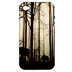 Forest Fog Hirsch Wild Boars Apple iPhone 4/4S Hardshell Case (PC+Silicone)