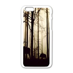 Forest Fog Hirsch Wild Boars Apple Iphone 6/6s White Enamel Case