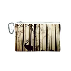 Forest Fog Hirsch Wild Boars Canvas Cosmetic Bag (S)
