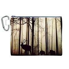Forest Fog Hirsch Wild Boars Canvas Cosmetic Bag (xl)