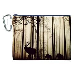 Forest Fog Hirsch Wild Boars Canvas Cosmetic Bag (xxl)