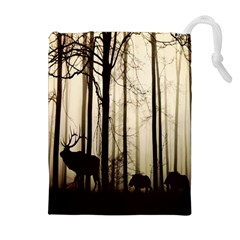 Forest Fog Hirsch Wild Boars Drawstring Pouches (extra Large)