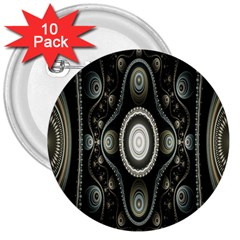 Fractal Beige Blue Abstract 3  Buttons (10 pack)