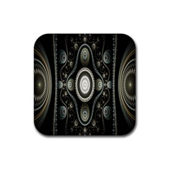 Fractal Beige Blue Abstract Rubber Coaster (Square)