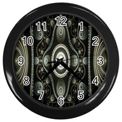 Fractal Beige Blue Abstract Wall Clocks (Black)