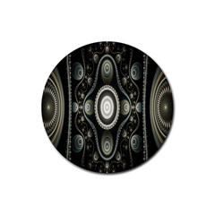 Fractal Beige Blue Abstract Rubber Coaster (Round)