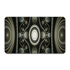 Fractal Beige Blue Abstract Magnet (Rectangular)
