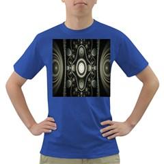 Fractal Beige Blue Abstract Dark T-Shirt