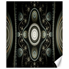 Fractal Beige Blue Abstract Canvas 20  x 24