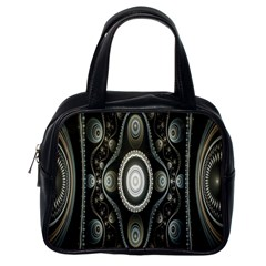 Fractal Beige Blue Abstract Classic Handbags (One Side)