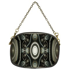 Fractal Beige Blue Abstract Chain Purses (One Side)