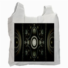 Fractal Beige Blue Abstract Recycle Bag (Two Side)