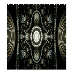 Fractal Beige Blue Abstract Shower Curtain 66  X 72  (large)