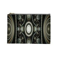 Fractal Beige Blue Abstract Cosmetic Bag (Large)
