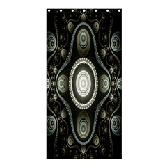 Fractal Beige Blue Abstract Shower Curtain 36  x 72  (Stall)