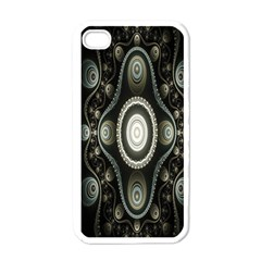 Fractal Beige Blue Abstract Apple iPhone 4 Case (White)