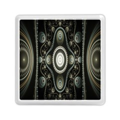 Fractal Beige Blue Abstract Memory Card Reader (Square)