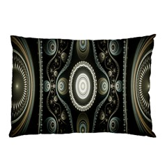 Fractal Beige Blue Abstract Pillow Case (Two Sides)