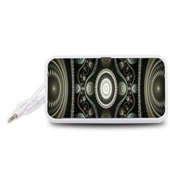 Fractal Beige Blue Abstract Portable Speaker (White)