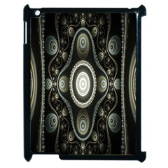 Fractal Beige Blue Abstract Apple iPad 2 Case (Black)