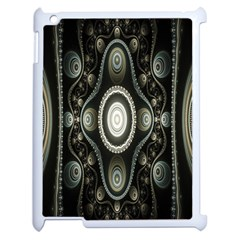 Fractal Beige Blue Abstract Apple iPad 2 Case (White)