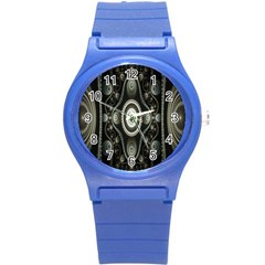 Fractal Beige Blue Abstract Round Plastic Sport Watch (S)