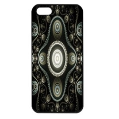 Fractal Beige Blue Abstract Apple Iphone 5 Seamless Case (black)