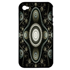 Fractal Beige Blue Abstract Apple Iphone 4/4s Hardshell Case (pc+silicone)