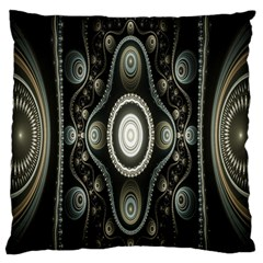Fractal Beige Blue Abstract Large Flano Cushion Case (two Sides)