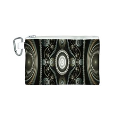 Fractal Beige Blue Abstract Canvas Cosmetic Bag (s)