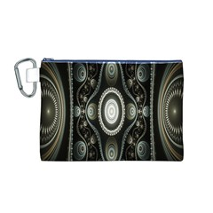 Fractal Beige Blue Abstract Canvas Cosmetic Bag (m)