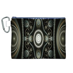 Fractal Beige Blue Abstract Canvas Cosmetic Bag (XL)