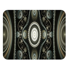 Fractal Beige Blue Abstract Double Sided Flano Blanket (large)