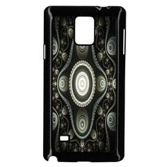 Fractal Beige Blue Abstract Samsung Galaxy Note 4 Case (Black)