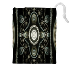 Fractal Beige Blue Abstract Drawstring Pouches (XXL)