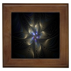 Fractal Blue Abstract Fractal Art Framed Tiles