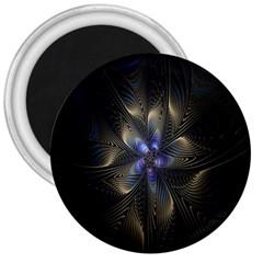 Fractal Blue Abstract Fractal Art 3  Magnets