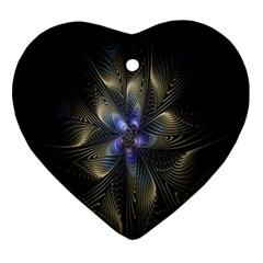 Fractal Blue Abstract Fractal Art Ornament (Heart)