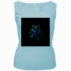 Fractal Blue Abstract Fractal Art Women s Baby Blue Tank Top