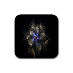 Fractal Blue Abstract Fractal Art Rubber Square Coaster (4 pack)